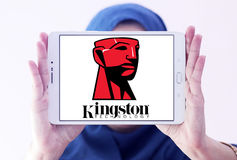Kingston Technology Corporation logo. Logo of Kingston Technology Corporation on samsung tablet holded by arab muslim woman. Kingston is an American Royalty Free Stock Photography