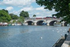 Kingston upon Thames bridge. The bridge over the River Thames at Kingston upon Thames, London, UK royalty free stock photography