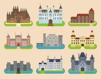 Kingstone medievale del castello di vecchia di vettore del fumetto del castello della torre dell'icona di architettura dell'illus Fotografia Stock Libera da Diritti