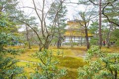 Kinkaku籍,金黄亭子,一个禅宗佛教徒寺庙在京都, 图库摄影