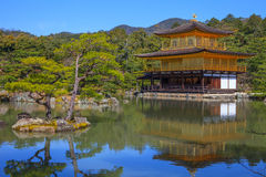 Kinkaku-ji, świątynia Złoty pawilon Fotografia Stock