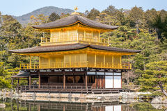The Kinkaku-ji golden temple. Close view of the Kinkaku-ji golden temple in Kyoto, Japan Royalty Free Stock Photos