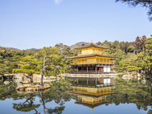 The Kinkaku-ji golden temple. Reflected on the water in Kyoto, Japan Stock Image