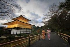 Kinkaku-ji, o pavilhão dourado em Kyoto, Japão Imagens de Stock