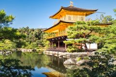 Kinkaku-ji Temple and the beautiful surrounding Japanese Zen Garden royalty free stock photos