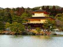 Kinkaku-ji Temple in Kyoto Japan. Kinkaku-ji Temple with pond, bonsai trees and garden in Kyoto Japan Stock Photography