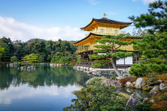 Kinkaku-ji Temple in Kyoto Japan. Kinkaku-ji Temple with traditional garden in Kyoto Japan. The Golden Pavilion Kinkaku is a three-story building on the grounds Stock Image