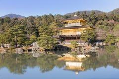 Kinkakuji亭子金黄寺庙 免版税库存照片
