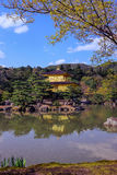 Kinkakuji den guld- paviljongen i Kyoto, Japan med reflexionen i vattnet Arkivfoto