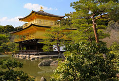 Kinkakuji, Golden Pavilion; Kyoto, Japan. Temple of the Golden Pavilion, also known as Kinkaku-ji or Rokuon-ji, Northern Kyoto, Japan. Picture taken in early Stock Image
