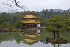 Kinkakuji or Golden Pavilion is a zen buddhist temple in Kyoto Stock Photos