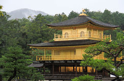 Kinkakuji, the golden temple, in the raining time, Japan Royalty Free Stock Photography