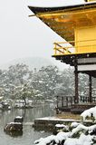 Kinkakuji in Kyoto, Japan in Snowstorm Royalty Free Stock Image