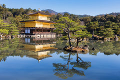 Kinkakuji Temple The Golden Pavilion in Kyot. O, Japan, The most famous and traveler destination temple in Kyoto Stock Image