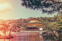 Kinkakuji Temple  The Golden Pavilion in Kyoto, Japan ( Filter Royalty Free Stock Photography