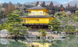 Kinkakuji temple golden pavilion zen buddhist on lake at Tokyo Royalty Free Stock Photography