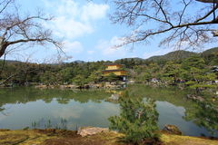 Kinkakuji temple or Golden Pavillion in Kyoto. Kinkakuji (Golden Pavilion) is a Zen temple formally known as Rokuonji. Its covered in gold,Kyoto,Japan Stock Photos