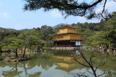 Kinkakuji temple or Golden Pavillion in Kyoto. Kinkakuji (Golden Pavilion) is a Zen temple formally known as Rokuonji. It's covered in gold,Kyoto,Japan Royalty Free Stock Photo