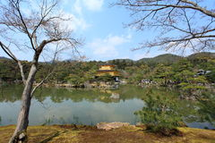Kinkakuji temple or Golden Pavillion in Kyoto stock photo
