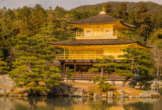 Kinkakuji Temple in Kyoto, Japan. During December the colors of the trees are starting to change. The temple is made out of gold Stock Photos