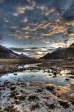 Kinlochlevenzonsondergang in de Hooglanden van Schotland royalty-vrije stock foto