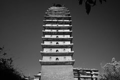 The Kinmen and Matsu chicken tower. China `s Kunming, Yunnan, Kinmen and Matsu chicken, the tower with black and white Royalty Free Stock Image