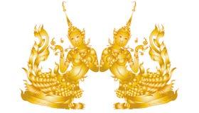 Kinnaree art ( tradition thai ) isolated on white Royalty Free Stock Photos
