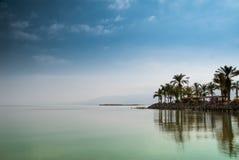 Kinneret det Galilee havet, Israel, Tiberias sjön med gömma i handflatan på vattnet för kuststillhetgräsplan och den blåa himlen  Fotografering för Bildbyråer