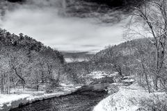 Flowing Kinnickinnic River Black and White in Winter Royalty Free Stock Image