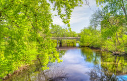 Kinnickinnic River in River Falls, Wisconsin. Kinnickinnic River in downtown River Falls, Wisconsin in late spring stock image