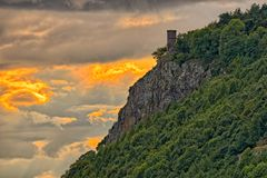 Kinnoull Tower, near Perth, Scotland, at sunset. Kinnoull Tower, near Perth , Perth and Kinross, Scotland, Europe, at sunset Stock Image