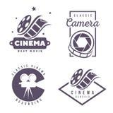 Kino beschriftet Emblemlogogestaltungselement lokalisiert auf weißem Hintergrund Lizenzfreie Stockbilder