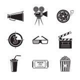 Kino, film ikony ustawiać z - projektorem, film Obrazy Royalty Free
