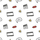 Kino, Film kritzelt nahtlosen Musterhintergrund Stockfotos