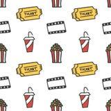 Kino, Film kritzelt nahtlosen Musterhintergrund Stockfoto