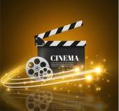 Kino-Hintergrund mit Film Blauer Hintergrund mit hellem Stern Abbildung des neuen Jahres Vektor-Flieger oder Plakat Stockbild