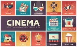 Kino i film - wektorowe nowożytne płaskie projekt ikony ustawiać Zdjęcie Royalty Free