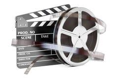 Kino i kinematografii pojęcie Clapperboard z ekranowymi rolkami, royalty ilustracja
