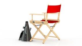 Kino-Industrie-Konzept Roter Direktor Chair, Film-Scharnierventil und Megaphon stock footage