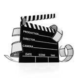Kino-Klatschen mit Film-Streifen Stockbild