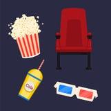 Kino, set cztery ikony Kinowy krzesło, 3d szkła, popkorn i soda, ilustracja wektor