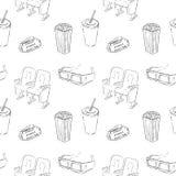 Kino-Skizzen-nahtloses Muster Lizenzfreie Stockfotografie
