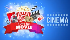 Kino und Film-Fahne lizenzfreie abbildung