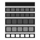 Kino und Fotografie 35 Millimeter-Streifenschablonensatz vektor abbildung