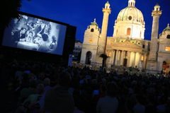 Kino unter Sternen open air cinema Vienna Stock Photography