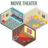 Kino w isometric stylowym projekcie Wektorowe mieszkania 3d ikony Wnętrze kino, kawiarnia, biletowy biuro ilustracji