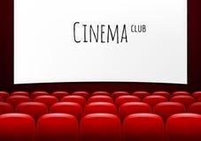 Kino z rzędem czerwoni siedzenia Premiera wydarzenia szablon Super przedstawienie projekt ilustracja wektor