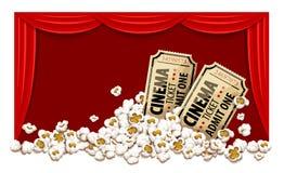 Kinohalle und -karten im Popcorn Lizenzfreie Stockbilder