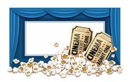 Kinohalle und -karten im Popcorn Stockfoto