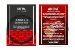 Kinoplakat, Einladung, Fliegerschablone Größe A4 Kinositzreihen, -karten und -scharnierventil auf Hintergrund stock abbildung